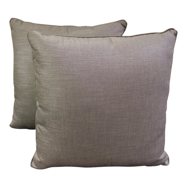 Light Gray Throw Pillows - a Pair - Image 1 of 4