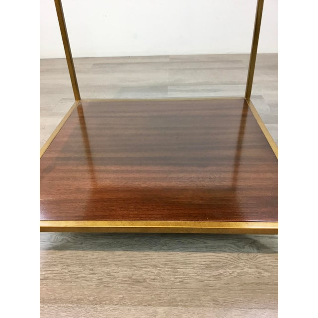 2010s Mid-Century Modern Style Black Marble and Walnut Finished Wood Copeland End Table For Sale - Image 5 of 7