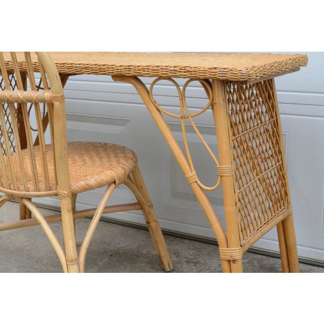 Boho Chic 1950s Wicker Rattan Desk and Chair - a Set For Sale - Image 3 of 12