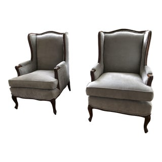 Vintage French Provincial Wingback Chairs - A Pair For Sale