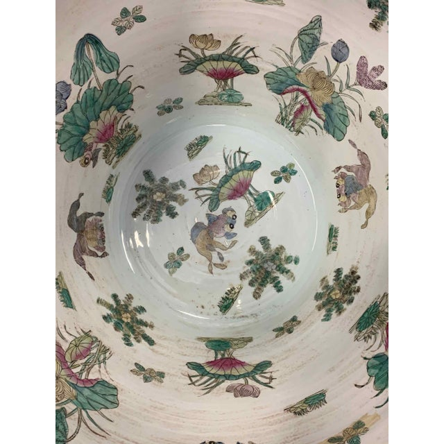 """Asian Antique Famille Rose Palace Fish Bowl 31"""" For Sale - Image 10 of 13"""