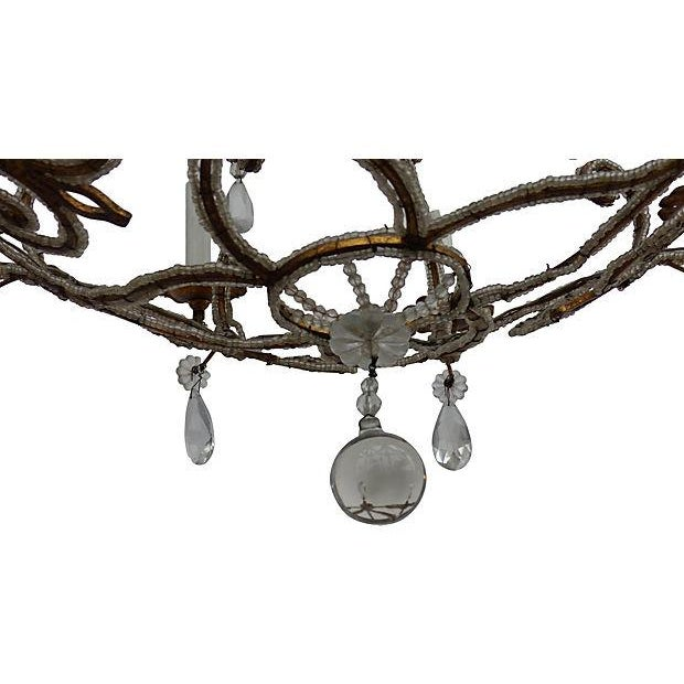 Chandelier with Crystal and Intricate Beading For Sale - Image 4 of 6