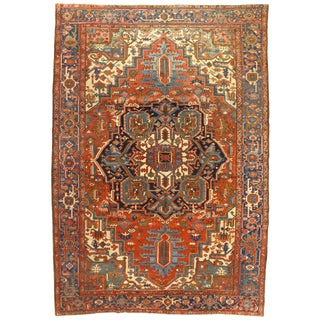 "Late 19th Century Antique Persian Serapi Rug - 8′1"" × 11′5″ For Sale"