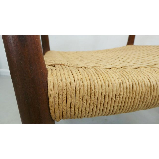Mid Century j.l. Moller Danish Modern Teak Framed Rope Seat #56 Arm Dining Chairs by j.l. Moller For Sale - Image 10 of 11