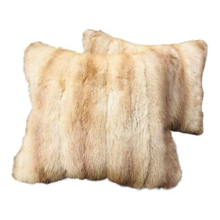 1950s Vintage Natural Ranch Mink Pillows - a Pair For Sale