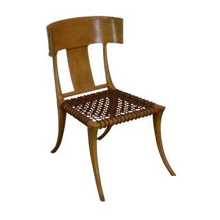 T. H. Robsjohn Gibbings Saridis of Athens Walnut & Leather Klismos Chair For Sale