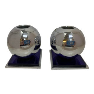 1930s Art Deco Chase Chrome and Blue Glass Candle Holders - Set of 2 For Sale