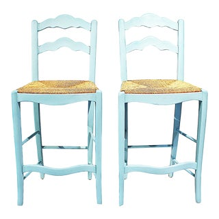 1980s Chalk Painted French Style Bar Stools - a Pair For Sale