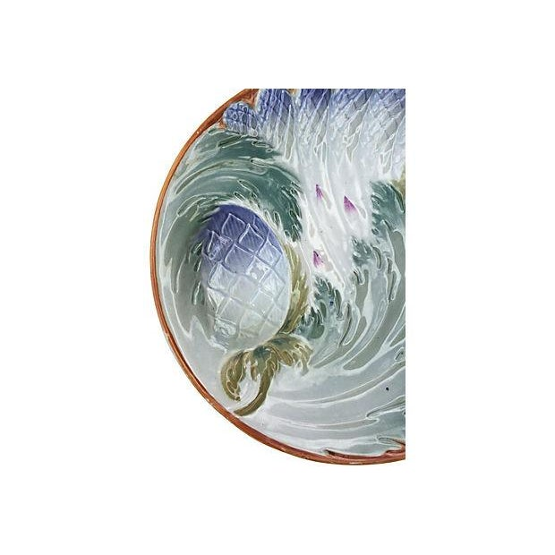 French French Majolica Asparagus Plates - Set of 6 For Sale - Image 3 of 6