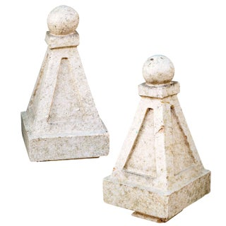 Glazed Terracotta Finials- A Pair For Sale