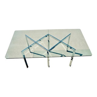 1970s Mid-Century Modern Milo Baughman Thayer Coggin Flat Steel Chrome Dining Table X Table Base and Glass For Sale