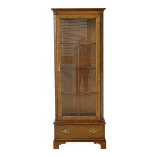 Baker 1 Door Walnut Display Curio Cabinet For Sale