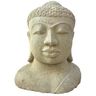 Late 20th Cent. Buddha 3' Statue, Granite Carved Bust Garden Stone For Sale