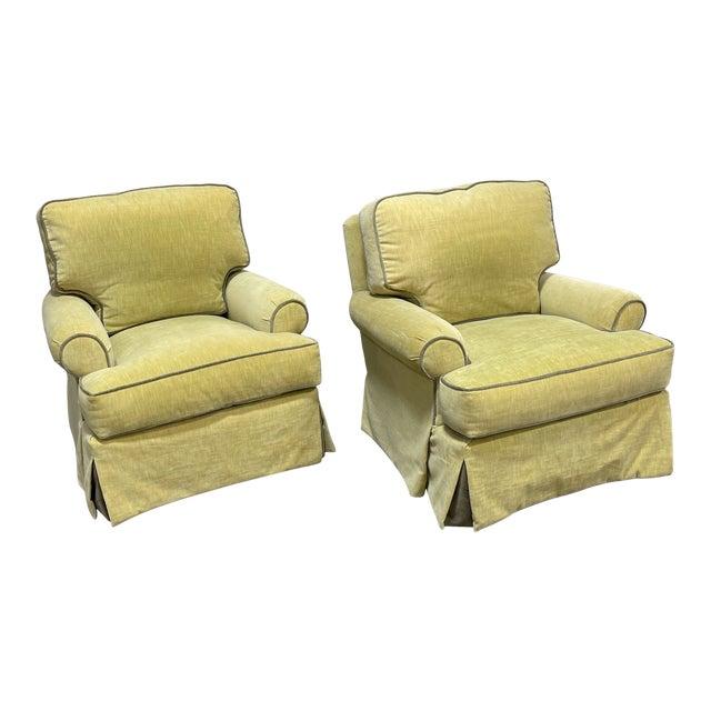 Velvet Lee Industries Swivel Rocker Club Chairs- Pair For Sale