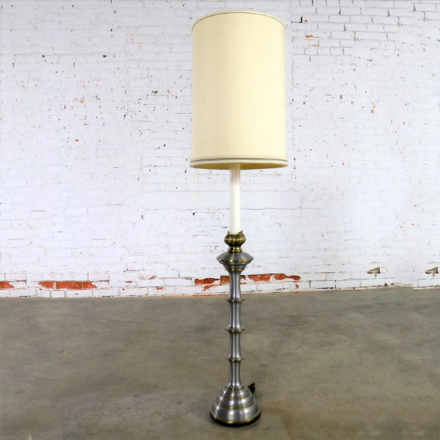 Stiffel Tall Table Lamp or Low Floor Lamp Mid Century Brass and Brushed Stainless Steel For Sale - Image 13 of 13