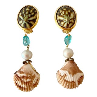 Shell and Gem Pierced Earrings For Sale