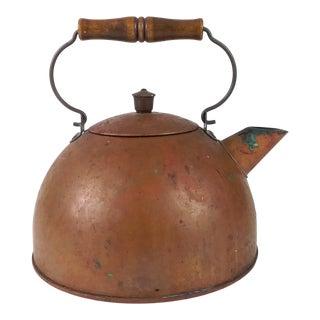 Antique American Copper Tea Pot Half Round Style For Sale