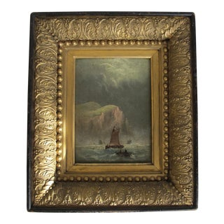 Late 19th Century Antique Seascape of Boats Oil on Canvas Painting For Sale
