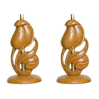 Yasha Heifetz Carved Oak Lamps - A Pair For Sale