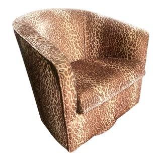 Velvet Leopard Swivel Club Chair For Sale