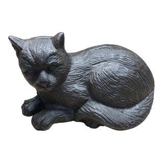 Black Cast Iron Curled Cat Figurine For Sale