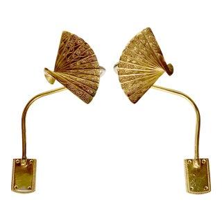 Bronze Chinoiserie Fan Motif Curtain Tie Back Hooks For Sale