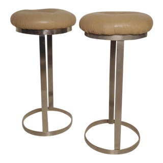 Pair of Midcentury Chrome Stools For Sale