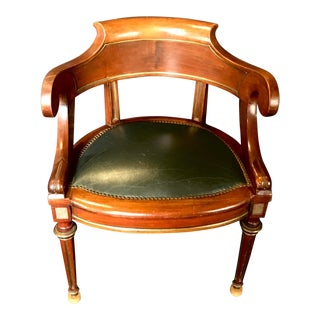 French Louis Philippe Brass Trimmed Leather and Walnut Desk Chair For Sale