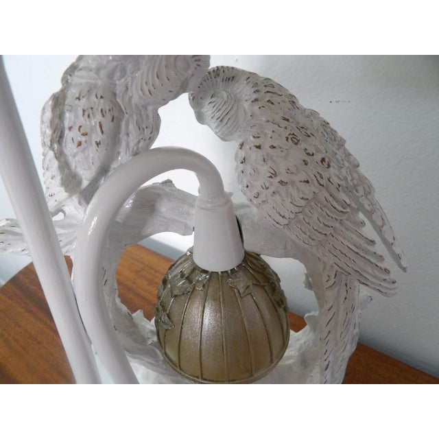 2010s Parakeet Lamp in White Lacquer With Multiple Setting Lights With Silver Shade For Sale - Image 5 of 11