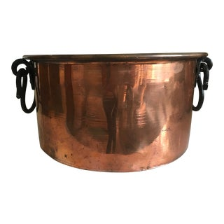 Vintage Mid Century Handmade Turkish Copper Cauldron For Sale