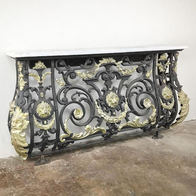 Napoleon III Period Cast Iron Marble Top Console For Sale - Image 12 of 12