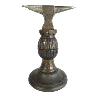 Antique Watchmaker's Anvil Tool on Hand Carved Stand For Sale