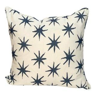 Peter Dunham Indigo Starburst Pattern Outdoor Fabric Pillow For Sale