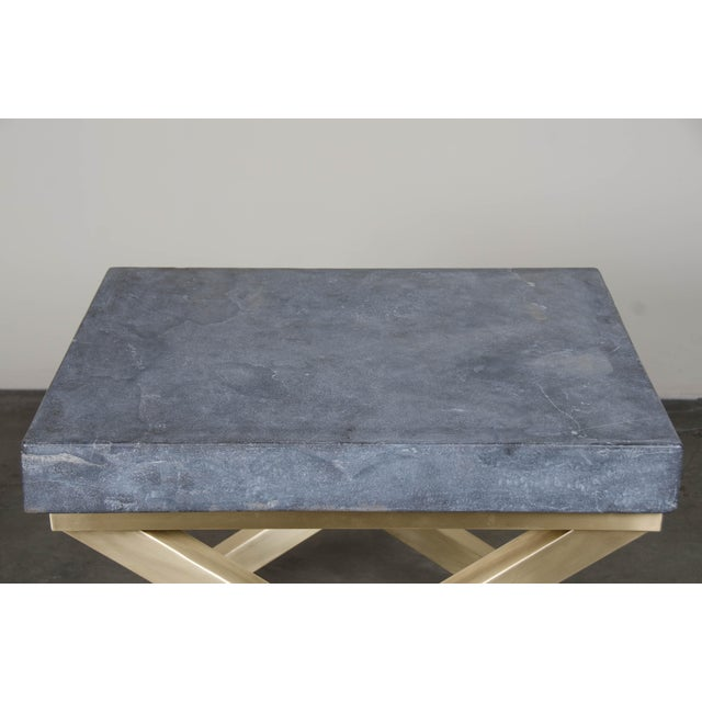 2010s Brass Cross-Leg Table with Stone Top For Sale - Image 5 of 5
