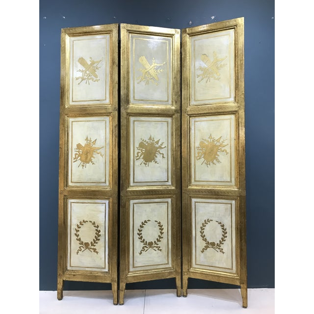20th Century Italian Giltwood Florentine Room Divided Screen Hollywood Regency For Sale - Image 13 of 13
