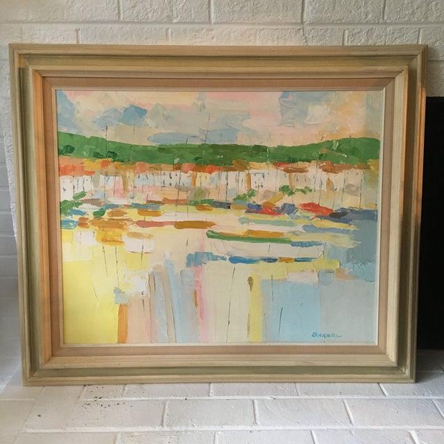Impressionism Mediterranean Marina by George Barrel For Sale - Image 3 of 13