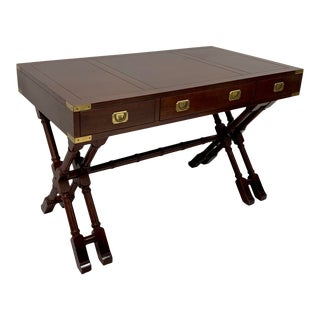 Mahogany and Brass Campaign Style Desk For Sale