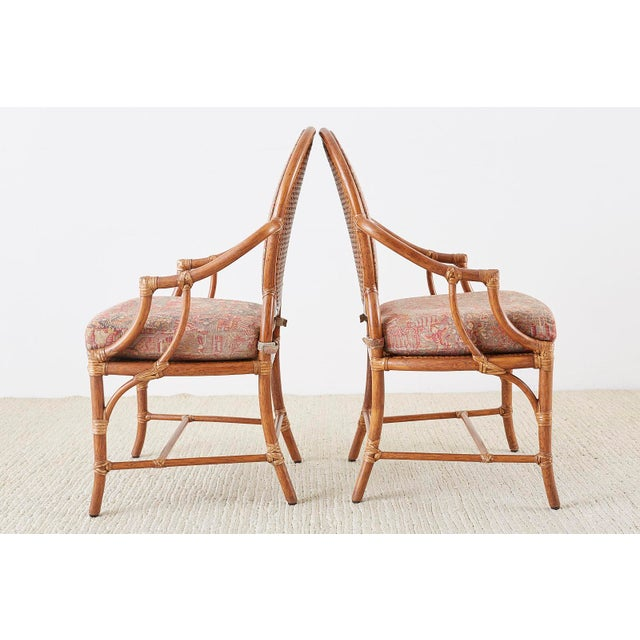 Late 20th Century McGuire Rattan Chinoiserie Dining Armchairs - Set of 8 For Sale - Image 5 of 13