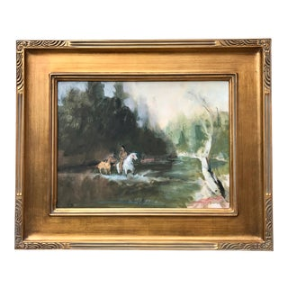 American Impressionist Painting Indian Scout Crossing River by Harry Barton For Sale
