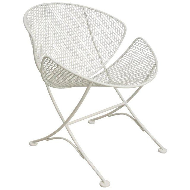 "Metal Vintage Mid Century Salterini White Patio ""Clamshell"" Side Chair For Sale - Image 7 of 7"