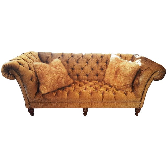 Crocodile Embossed Chenille Chesterfield Sofa - Image 1 of 3