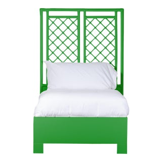 X & Diamond Bed Twin Extra Long - Bright Green For Sale