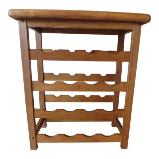 20th Century Mid-Century Modern Walnut and Teak Wood Wine Rack Tray Table For Sale