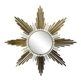 Image of Vintage French Brass Sunburst Mirror For Sale