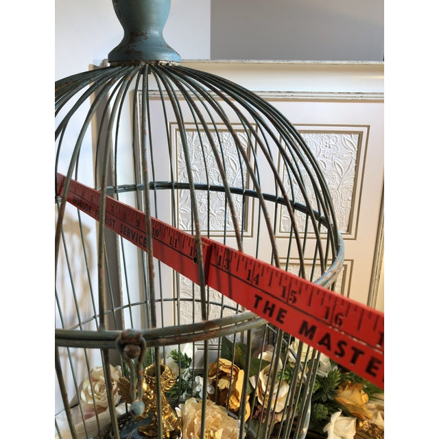 American Vintage Wire Bird Cage For Sale - Image 3 of 10