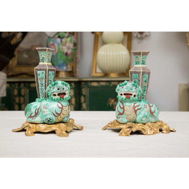 Gold 19th Century Pair of Chinese Lions on Bronze Doré Base For Sale - Image 8 of 8