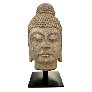 Carved Stone Buddha Head For Sale