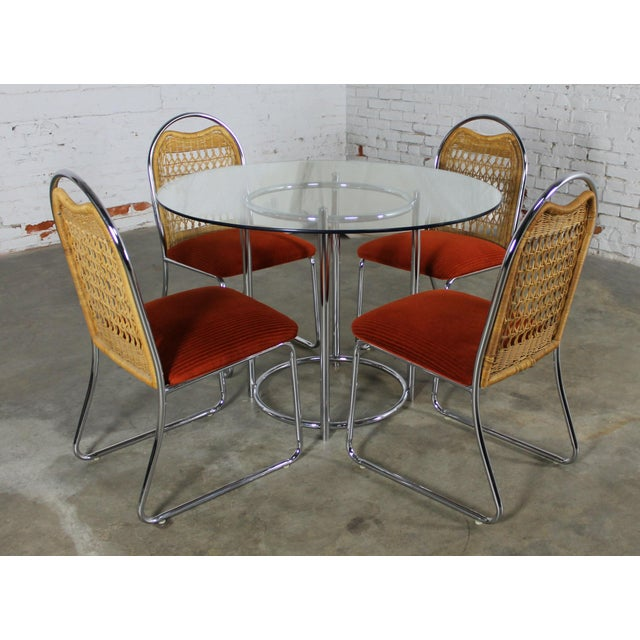 Daystrom Mid-Century Glass & Chrome Table With Chrome & Wicker Chairs - Set of 5 - Image 2 of 11