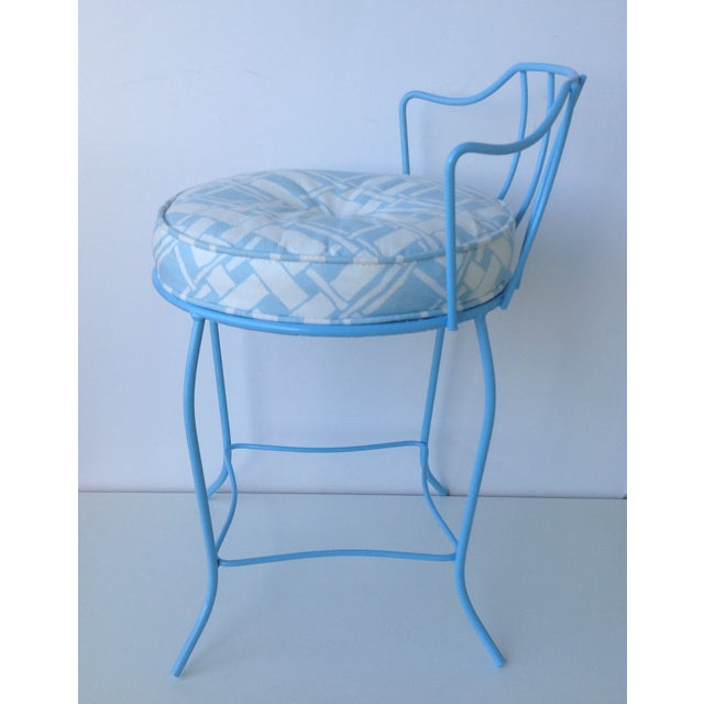 Mid-Century Blue Metal Vanity Stool For Sale In West Palm - Image 6 of 11