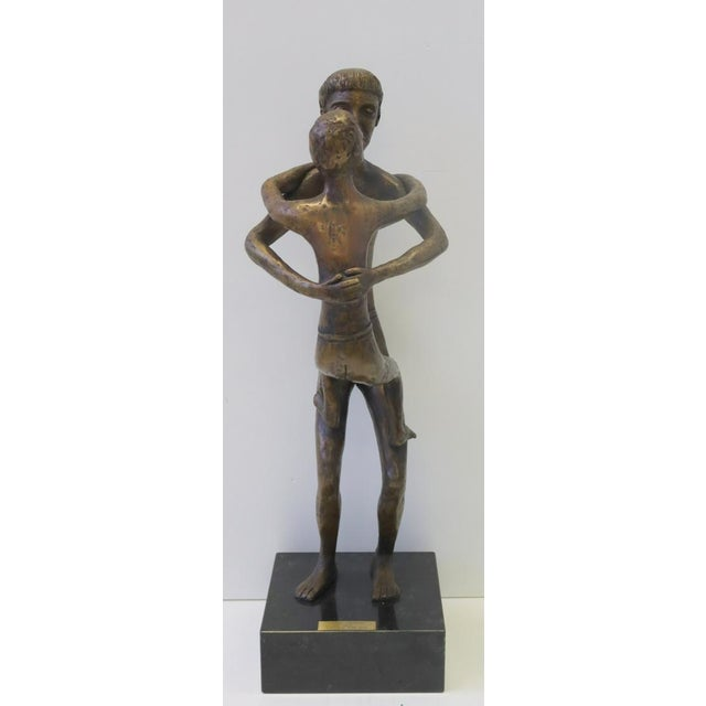 Contemporary Ted Haber Father and Son 23 In. Bronze For Sale - Image 3 of 5